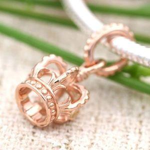 PANDORA AUTH. Noble Splendor Crown Rose Gold Charm